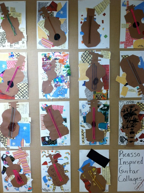 Kindergarten Picasso Inspired Guitar Collages Meri Cherry
