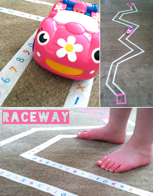 washi tape raceway for toddlers