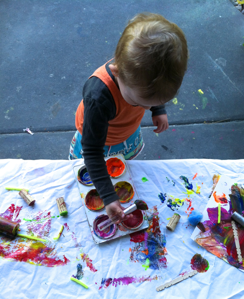 toddler painting table - covered bench