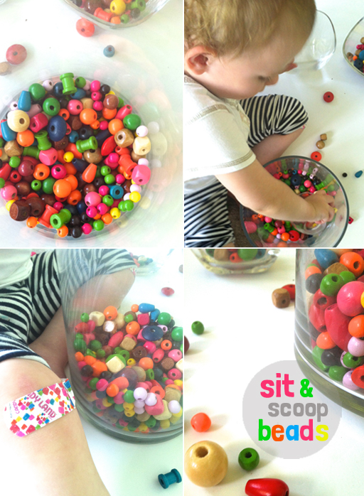 sit and scoop - bead play for toddlers