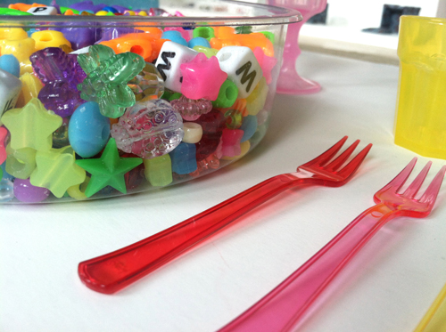 sorting and scooping with beads - toddler activity