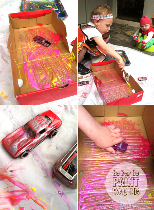car painting with toddlers