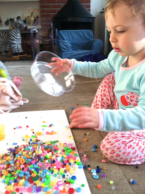 toddler activity - beads and sorting