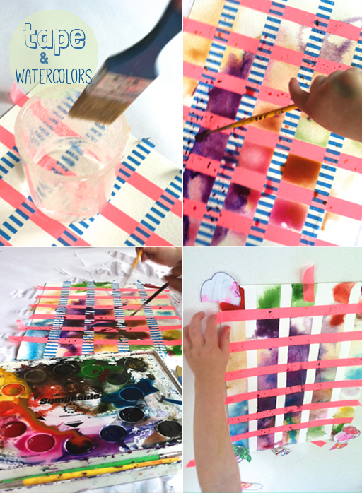 washi tape and watercolors - painting for toddlers
