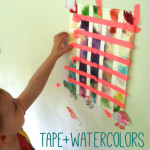 washi tape and watercolors - painting activity for toddlers