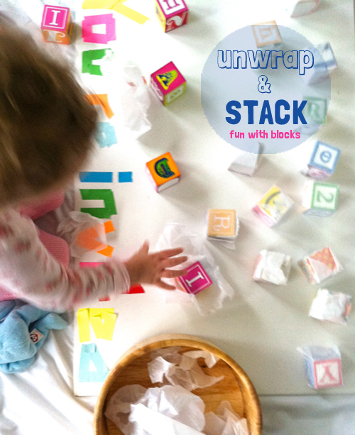 invitation to play toddler activity - fun with blocks