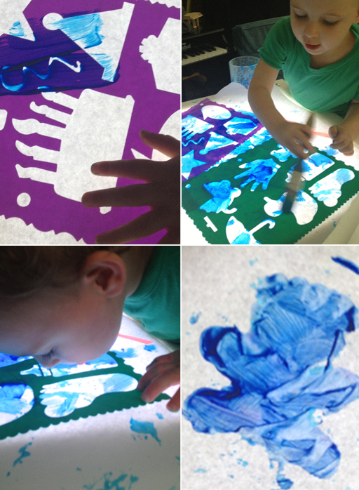 Light Table for Toddlers - Invitation to Play with Stencils and Paint