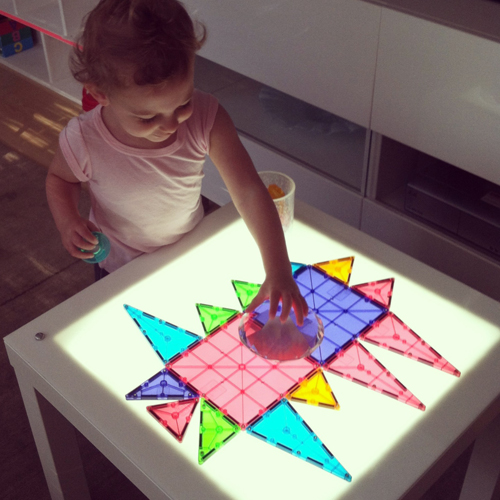 Light Table for Toddlers - Invitation to Play with Magnatiles