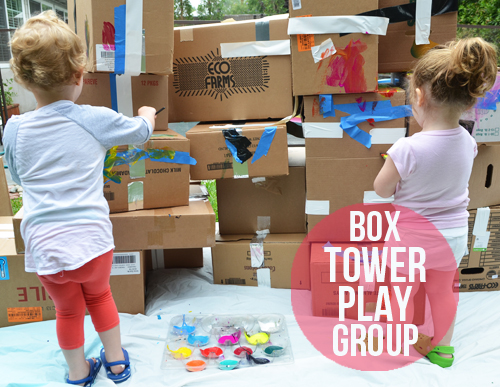 Cardboard Box Tower Play Group Activity