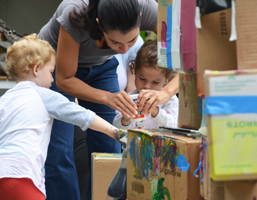 toddler play group activity - building a cardboard tower