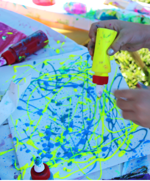 stencil art with biocolors for kids of all ages