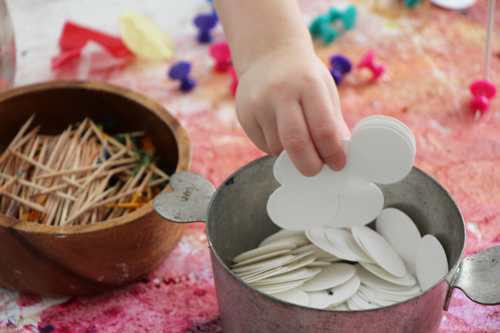 Fun with styrofoam and poking for toddlers - great invitation to play