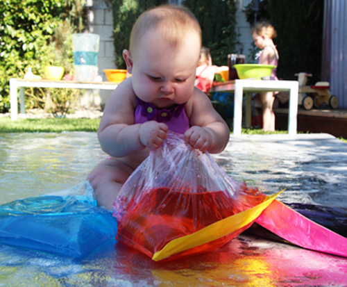 diy baby waterbeds - ziploc, water, food coloring and some duct tape