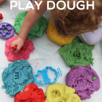 homemade rainbow play dough - play group activity