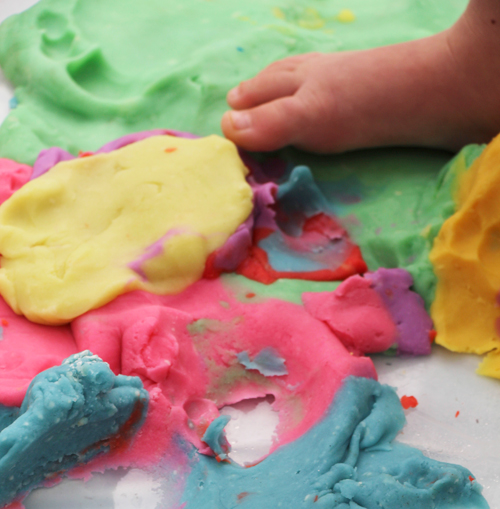 homemade rainbow play dough - play group activity