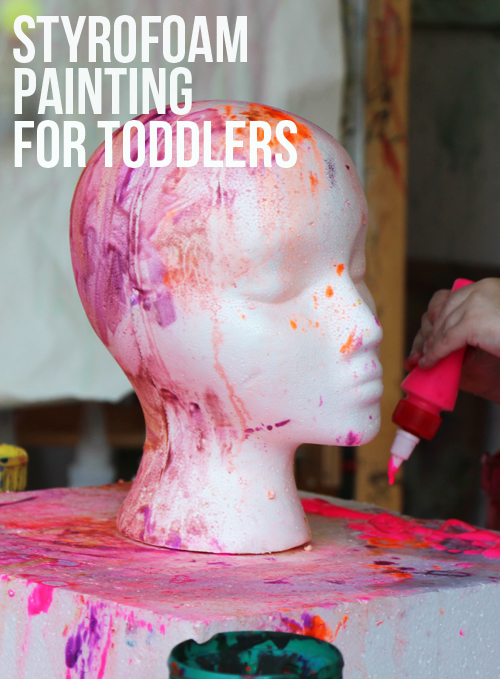 painting on styrofoam for toddlers