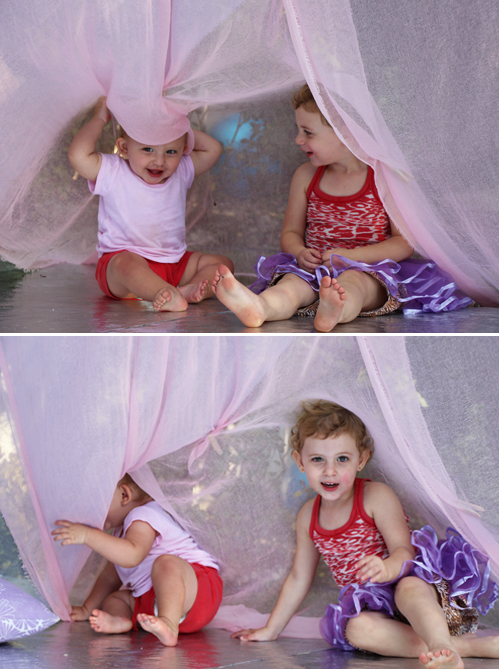 Backyard teepee play