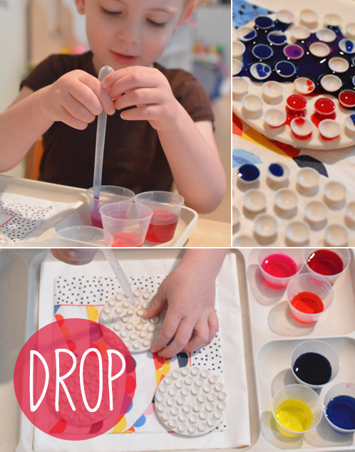 Invitation to play for toddlers - liquid water colors, droppers and soap holders