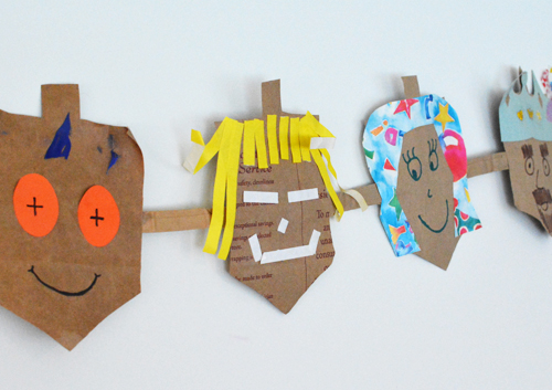 Hanukkah Dreidel Garland from Recycled Shopping Bags