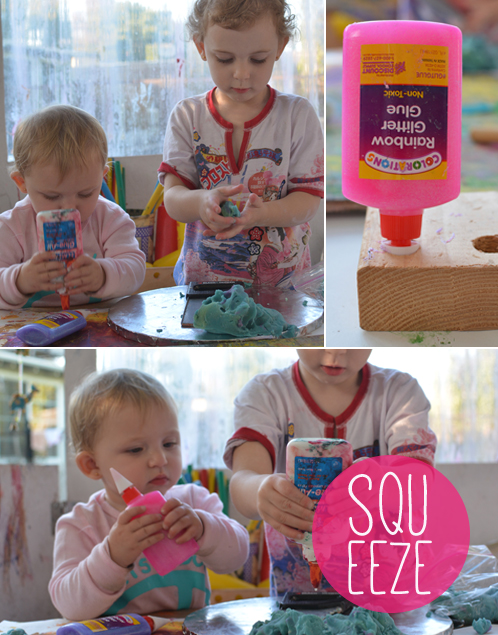 Invitation to Play for Toddlers - glue and play dough