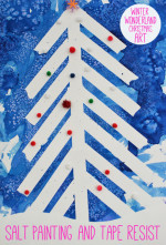 Winter Wonderland Christmas Art – Tape Resist and Salt Painting