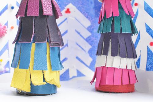 DIY Leather Fringe Christmas Trees