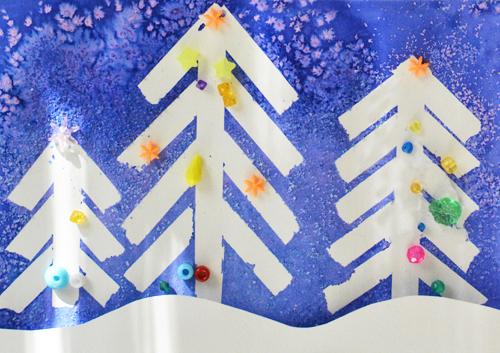 Winter Wonderland Christmas Art Tape Resist And Salt