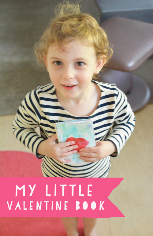 My Little Valentine Book for Toddlers - milk printing and tissue paper cut outs