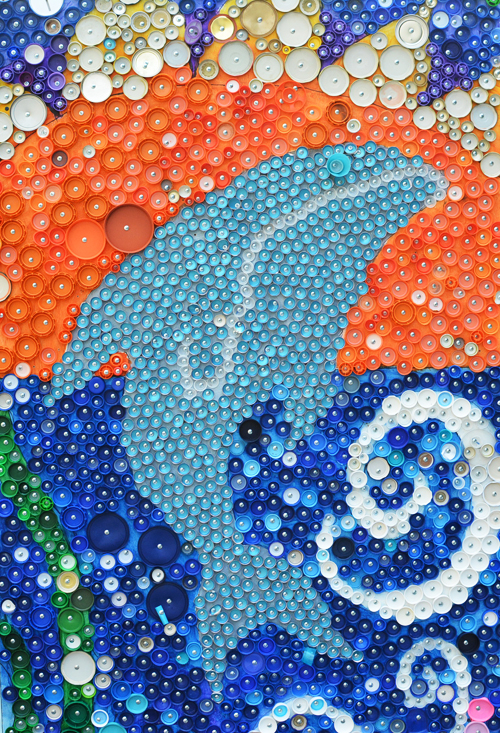 School wide bottle cap mural project meri cherry for Bottle cap mural