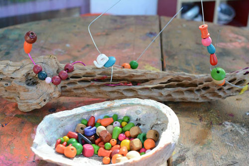 Creating with Nature - Beading activity for toddlers