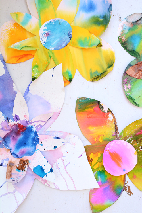 Spring Watercolor Flowers Art Activity for kids