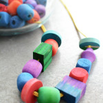 Dying Wood Beads (with your Toddler)