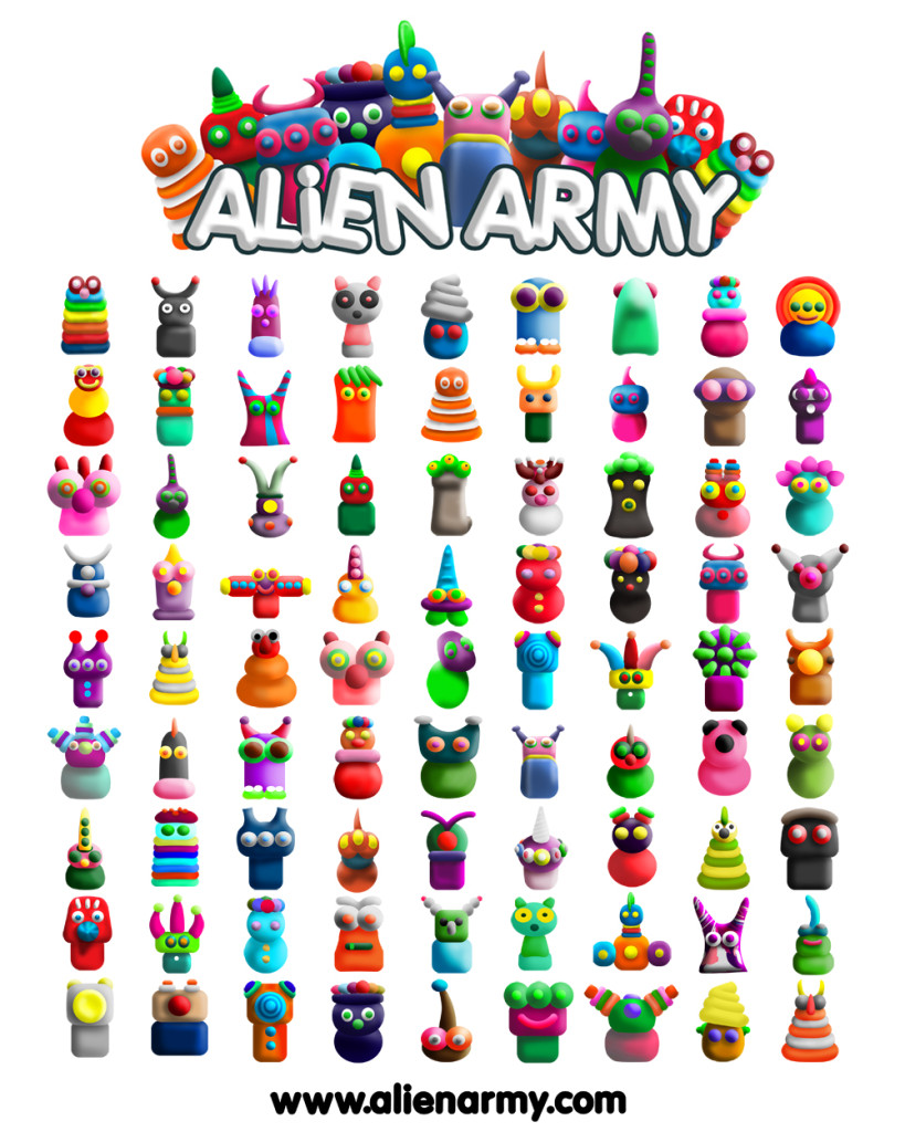 Alien Army Collection for Kids and Poster