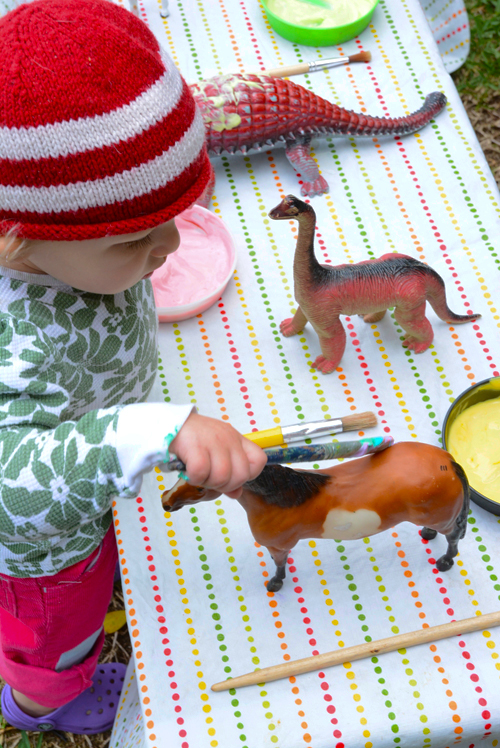 Dinosaur Sensory Play for Toddlers - Rainbow Shampoo