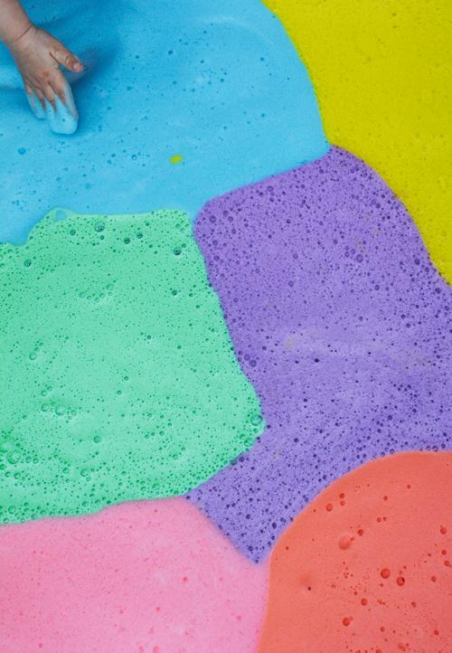 Sensory Play for Toddlers - Rainbow Shampoo