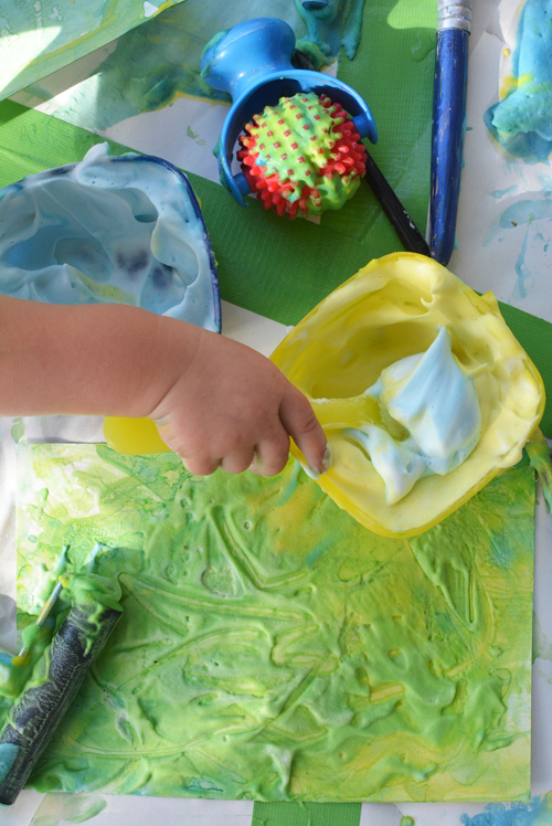 Little Blue and Little Yellow Paint Mixing for Toddlers | Meri Cherry Blog