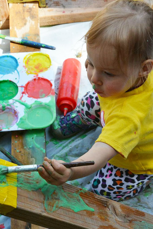 Plexiglass Painting with Yogurt Paint for Toddlers | Meri Cherry Blog