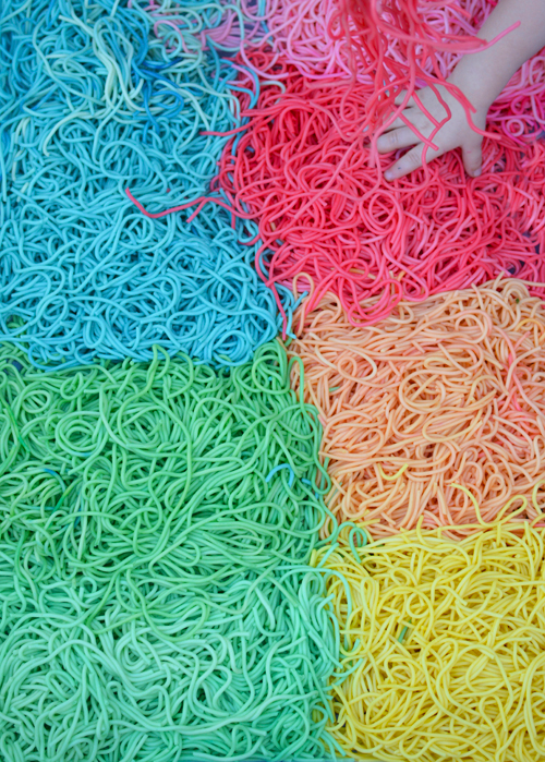 Rainbow Spaghetti Sensory Play for Babies and Toddlers