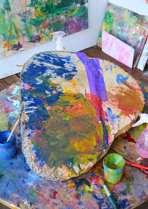 Tree Painting for Toddlers - What to do with a tree stump