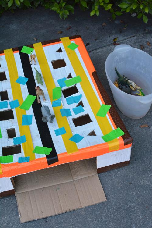 Cardboard Animal Drop Box for Kids