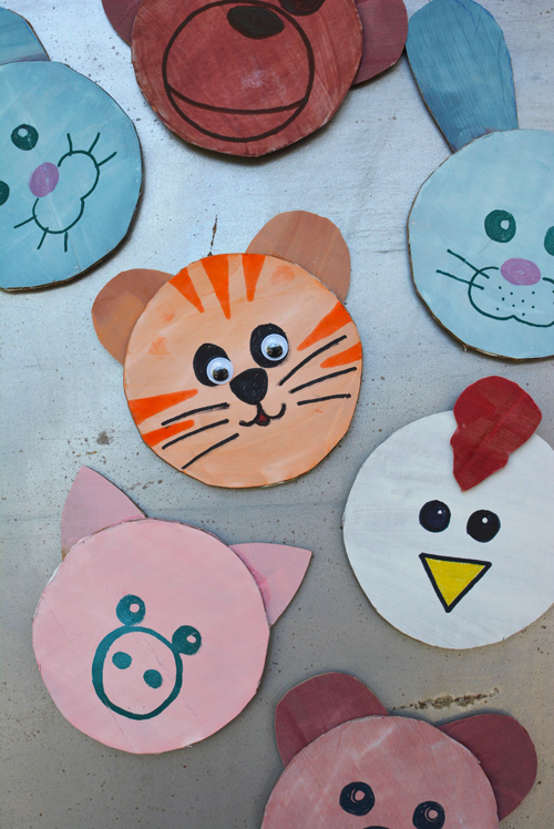 Cardboard Cutout Animal Magnets and DIY Magnet Board