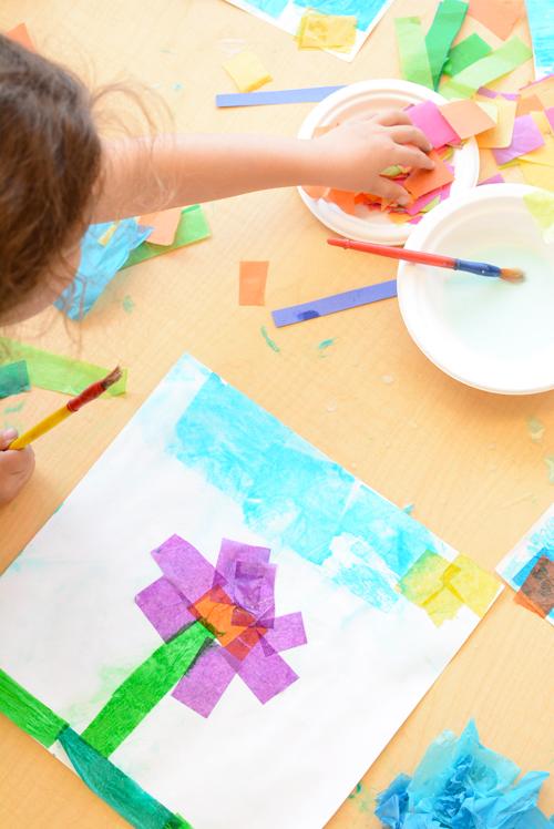 Simple Tissue Paper Flower Art for Kids