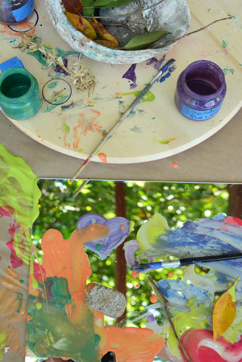 Reggio inspired nature painting on mirrors - activity for toddlers