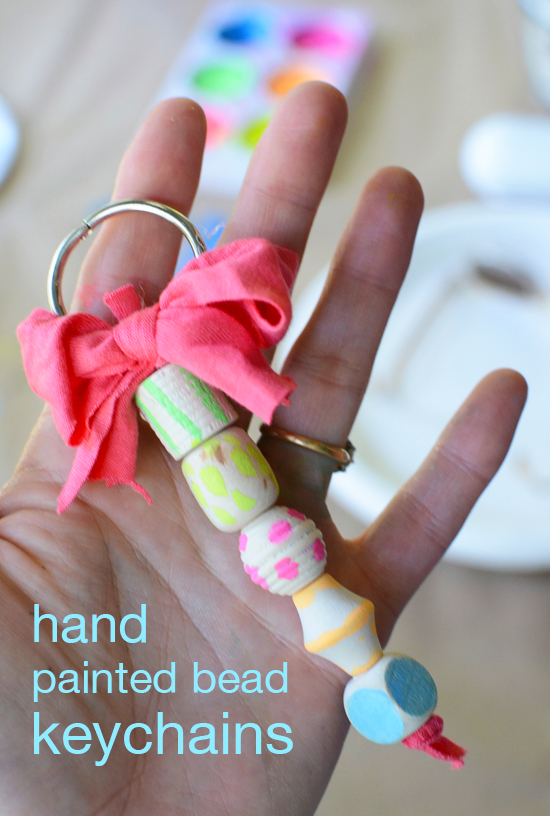 Hand Painted  Wood Bead Key Chains