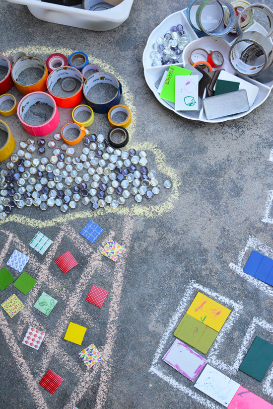 Temporary Mosaics - Great easy art activity for kids