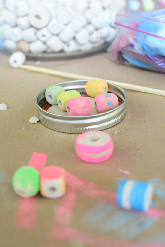 How to make painted wood bead bracelets