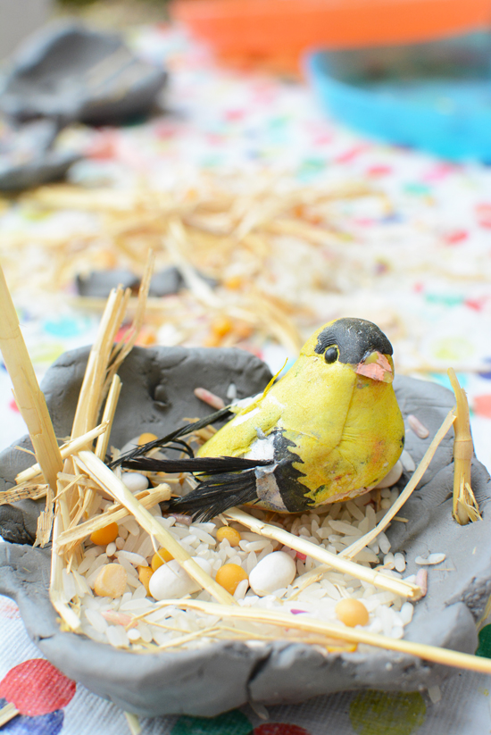 Make a Bird's Nest from Clay - easy art project for kids