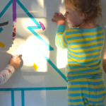 Make a Temporary Holiday Washi Tape Mural with your Kids - Great for Photo Backdrops