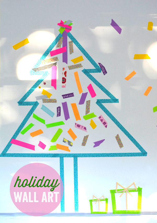 Make a Temporary Holiday Washi Tape Mural with your Kids
