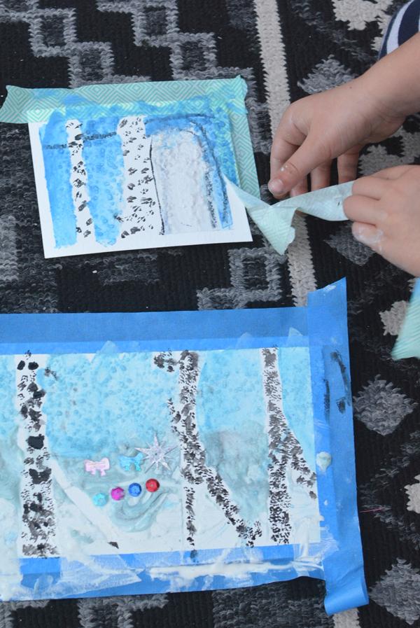Framed Winter Art Scenes - Easy Art Projects for Kids